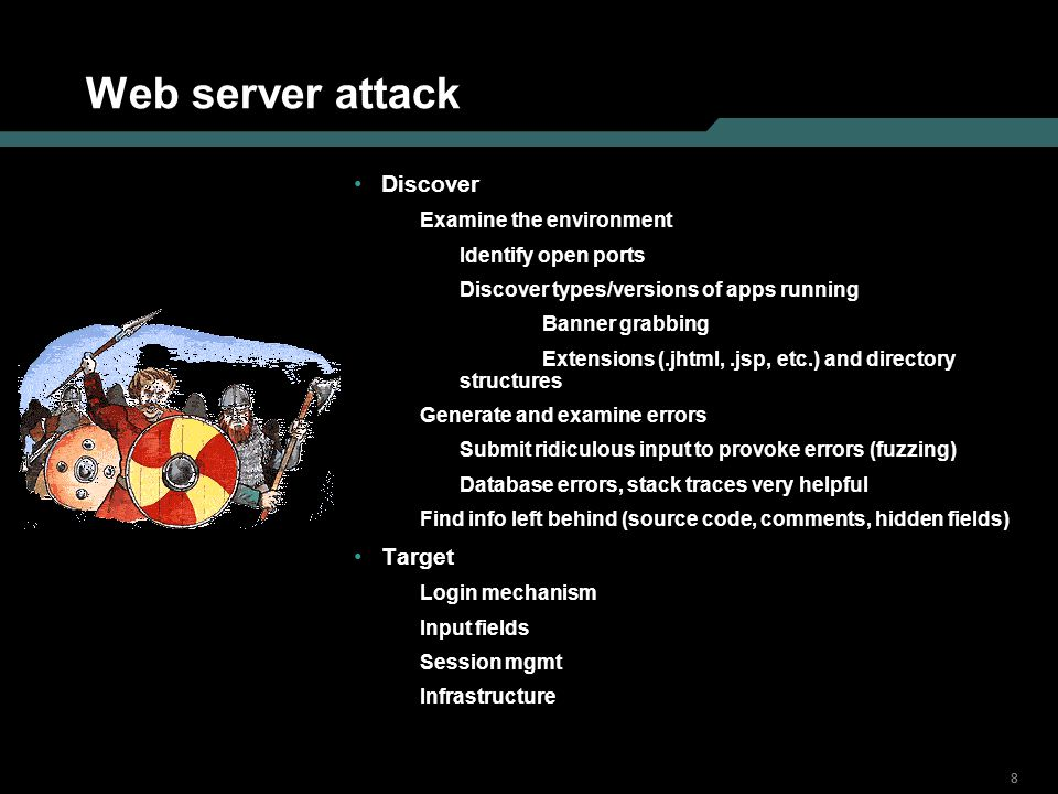 888 Web server attack Discover Examine the environment Identify open ports Discover types/versions of apps running Banner grabbing Extensions (.jhtml,