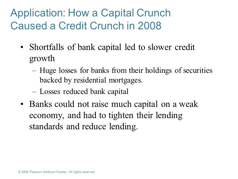© 2004 Pearson Addison-Wesley. All rights reserved 9-11 Application: How a Capital Crunch Caused a Credit Crunch in 2008 Shortfalls of bank capital le