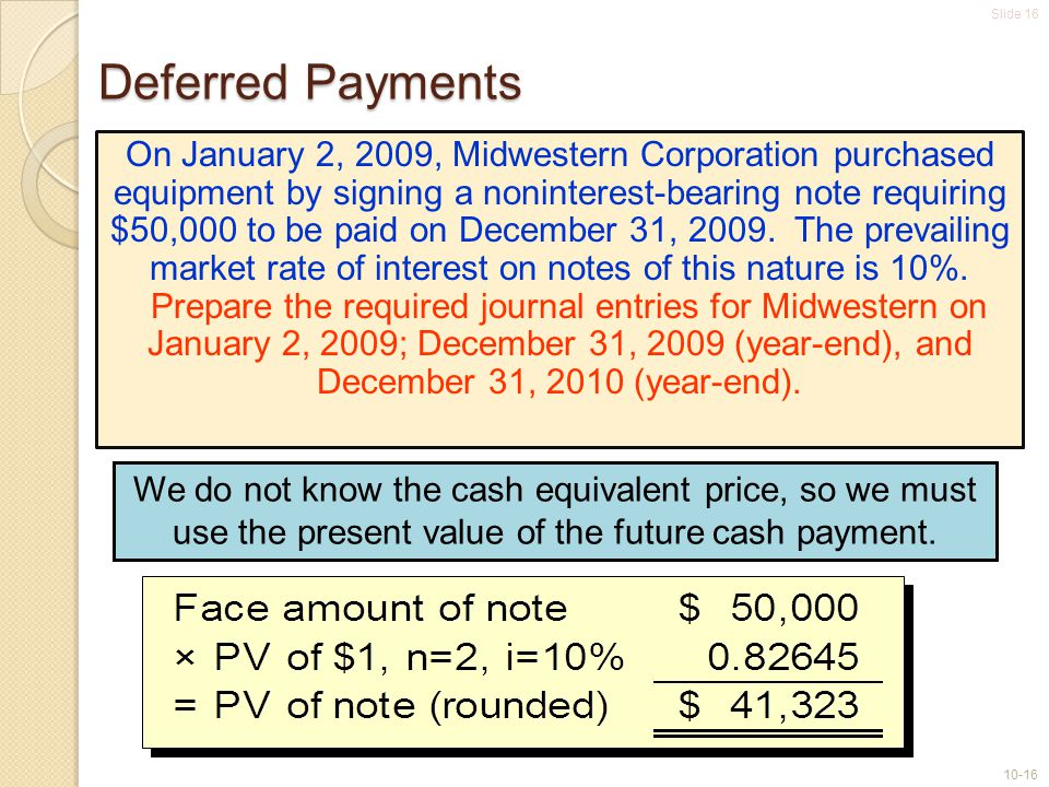 Slide 16 10-16 Deferred Payments On January 2, 2009, Midwestern Corporation purchased equipment by signing a noninterest-bearing note requiring $50,00