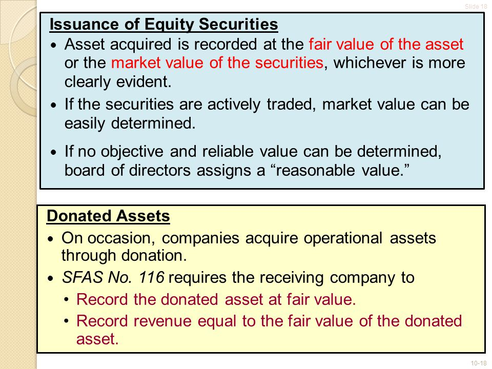 Slide 18 10-18 Issuance of Equity Securities Asset acquired is recorded at the fair value of the asset or the market value of the securities, whichever is more clearly evident.