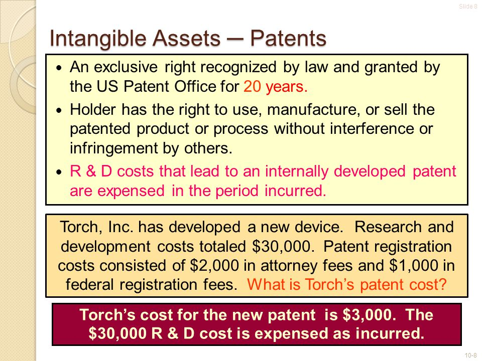 Slide 8 10-8 An exclusive right recognized by law and granted by the US Patent Office for 20 years. Holder has the right to use, manufacture, or sell