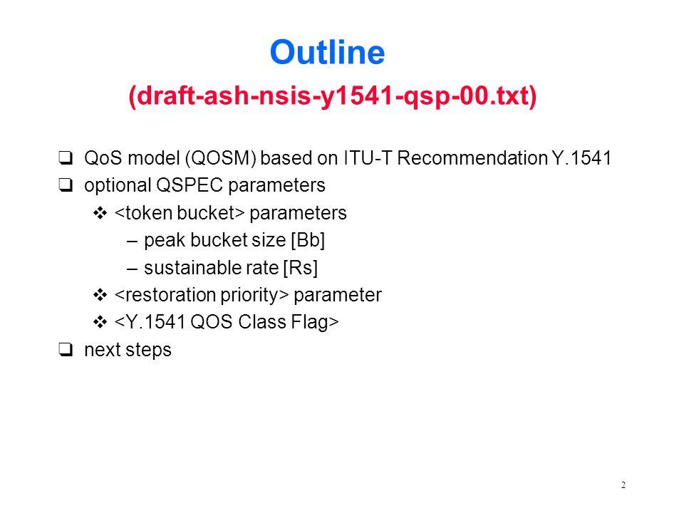 2 Outline (draft-ash-nsis-y1541-qsp-00.txt) qQoS model (QOSM) based on ITU-T Recommendation Y.1541 qoptional QSPEC parameters v parameters –peak bucket size [Bb] –sustainable rate [Rs] v parameter v qnext steps