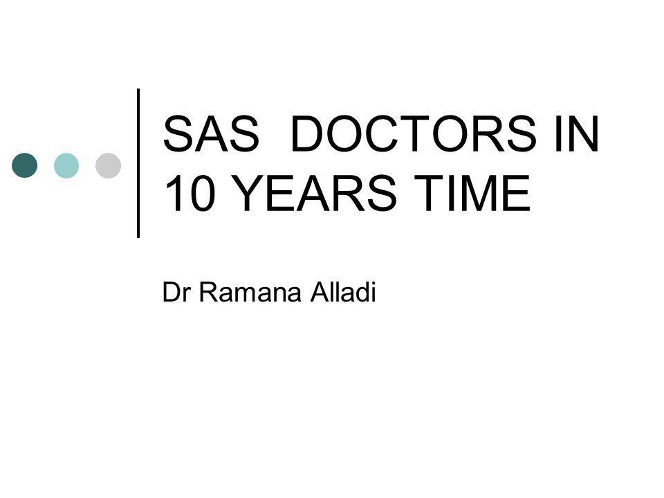 ROLE OF SAS DOCTORS Large section of Medical work force in Anaesthetics First line cover to ITU's and Maternity departments On-call and out of hours work District General Hospitals