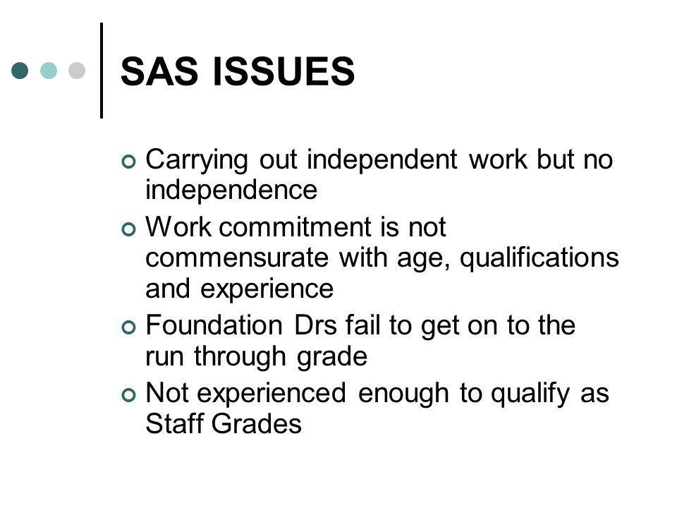 SAS ISSUES Carrying out independent work but no independence Work commitment is not commensurate with age, qualifications and experience Foundation Dr