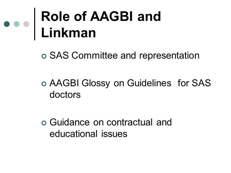 Role of AAGBI and Linkman SAS Committee and representation AAGBI Glossy on Guidelines for SAS doctors Guidance on contractual and educational issues