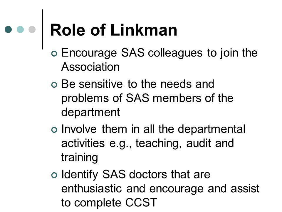 Role of Linkman Encourage SAS colleagues to join the Association Be sensitive to the needs and problems of SAS members of the department Involve them