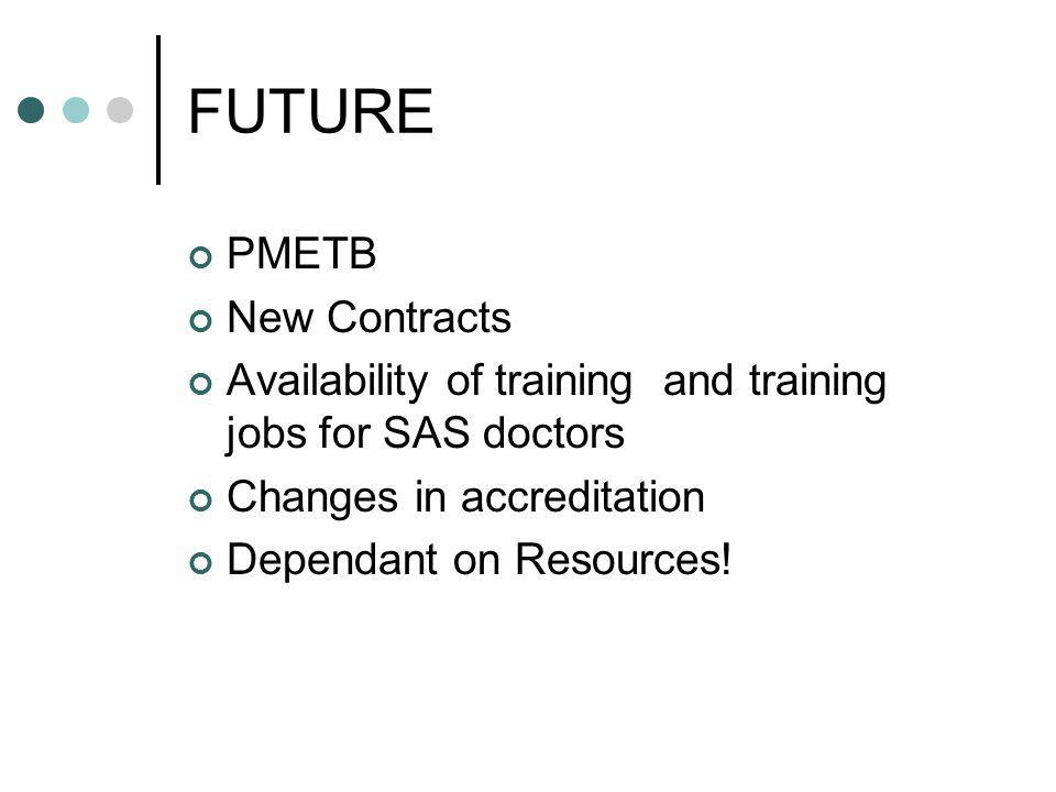 FUTURE PMETB New Contracts Availability of training and training jobs for SAS doctors Changes in accreditation Dependant on Resources!