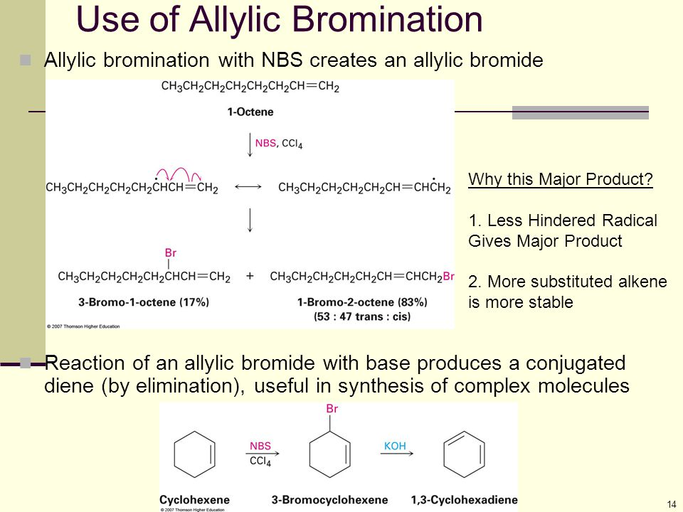 14 Use of Allylic Bromination Allylic bromination with NBS creates an allylic bromide Reaction of an allylic bromide with base produces a conjugated d