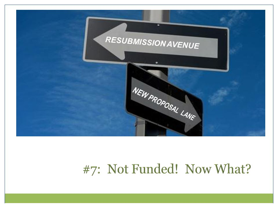 #7: Not Funded! Now What RESUBMISSION AVENUE