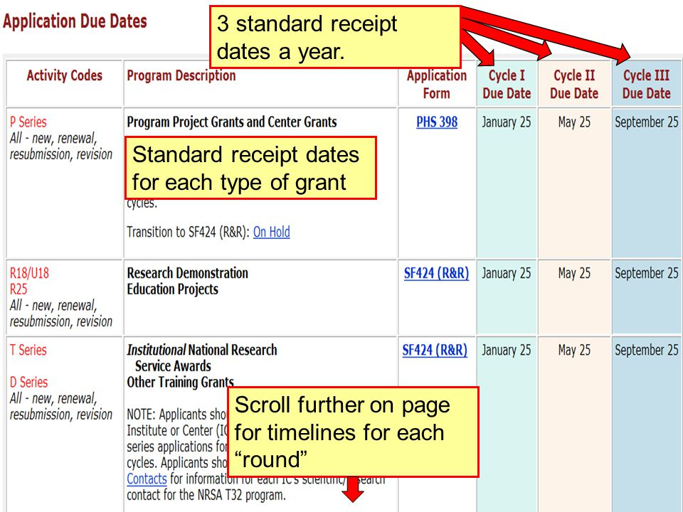 47 Standard receipt dates for each type of grant 3 standard receipt dates a year.