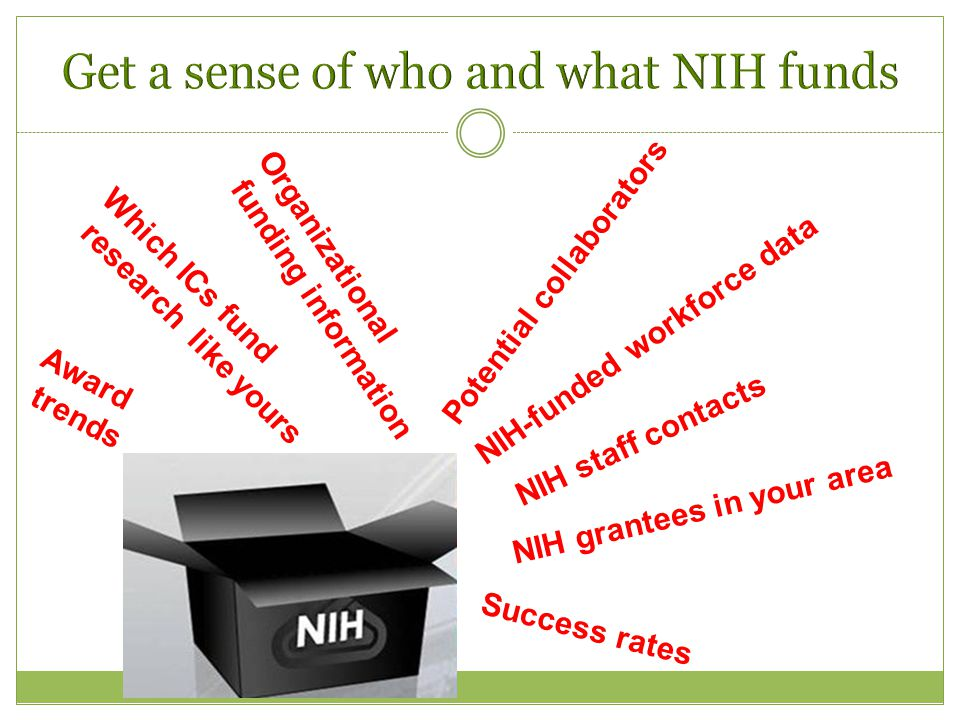 Success rates Which ICs fund research like yours NIH-funded workforce data Potential collaborators NIH grantees in your area Organizational funding information Award trends NIH staff contacts