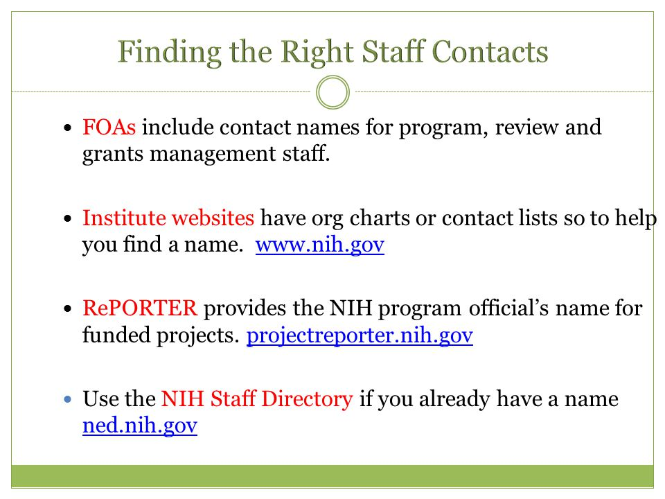 FOAs include contact names for program, review and grants management staff.
