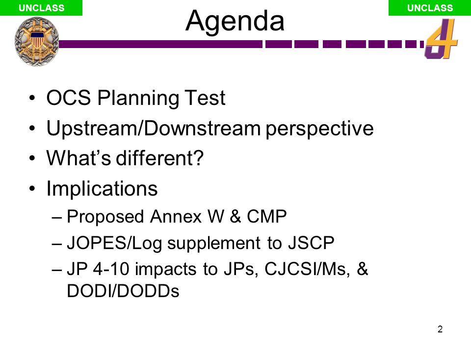 3 UNCLASS Test: OCS Planning Documented rules, tools, and business processes exist to integrate external support contracted requirements (PAX/STs) into Service component plans¹ For RFFs (or deliberate plans), a process exists to substitute and rapidly convert requested or planned military capabilities to contracted capabilities as well as 2 nd and 3 rd order effects (BOS, force protection, etc.) considering mix of likely nationals with AMCITS/TCNs.