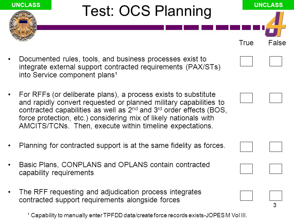 14 UNCLASS Annex W & Tabs: 2 nd /3 rd order effects Annex W, Tabs: –Tab A: Summary Contractor Support Estimate and, –Tab B: Summary Contracting Capabilities and Capacities Support Estimate Contractor summaries possible, but only if all other Annexes (J codes) provide completed supporting tab A's, thus… J codes dependent on supporting Service components and CSA plans to provide supporting tab A's, and… Contracting capabilities and capacities (Tab B) determined, in part, by fidelity of Tab A's Bottom Line: Change to Service component inputs & supporting plans essential (perhaps planning process)