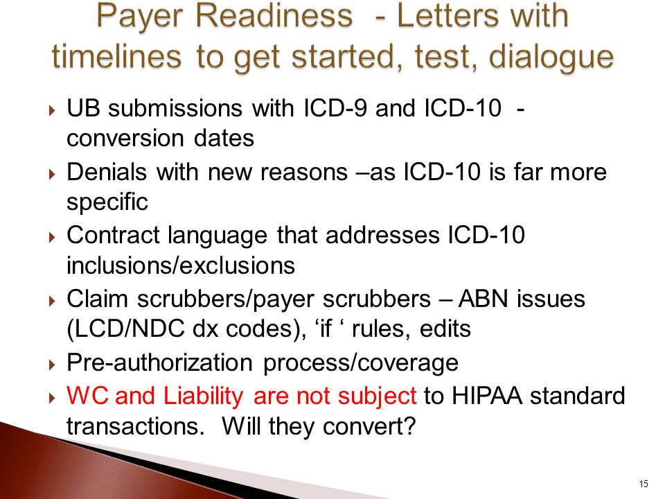  UB submissions with ICD-9 and ICD-10 - conversion dates  Denials with new reasons –as ICD-10 is far more specific  Contract language that addresse