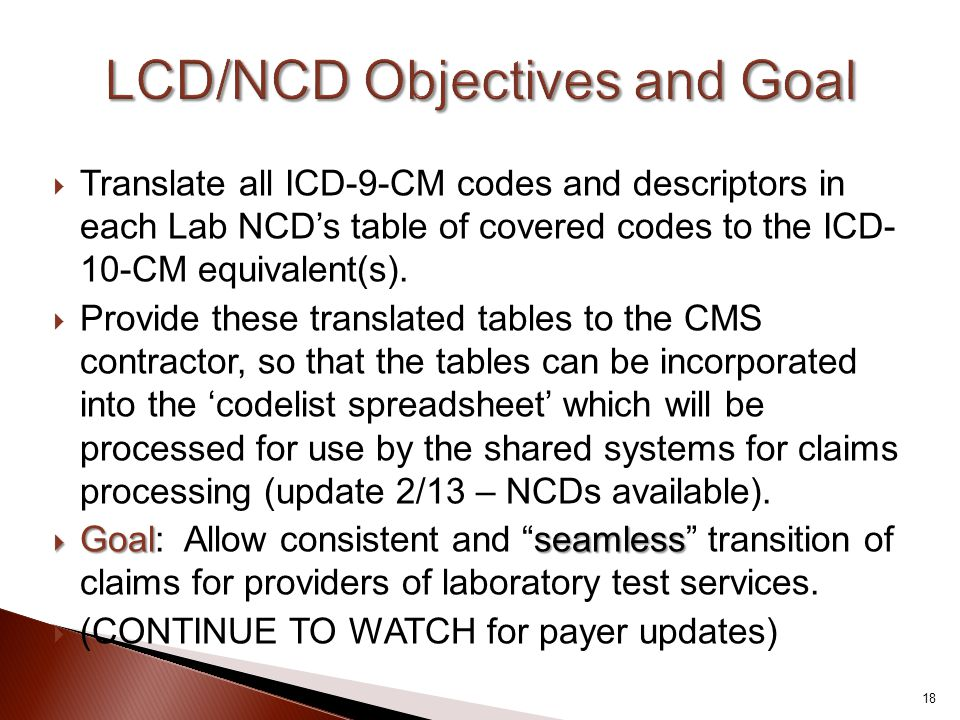  Translate all ICD-9-CM codes and descriptors in each Lab NCD's table of covered codes to the ICD- 10-CM equivalent(s).  Provide these translated ta