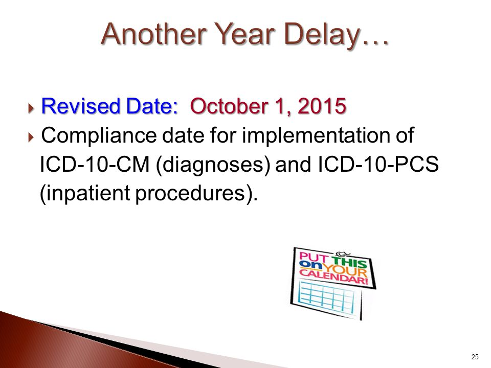  Revised Date: October 1, 2015  Compliance date for implementation of ICD-10-CM (diagnoses) and ICD-10-PCS (inpatient procedures). 25