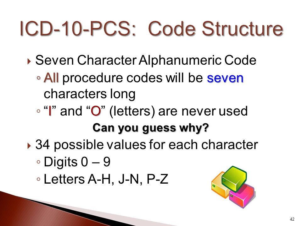 " Seven Character Alphanumeric Code ◦ Allseven ◦ All procedure codes will be seven characters long IO ◦ ""I"" and ""O"" (letters) are never used Can you g"