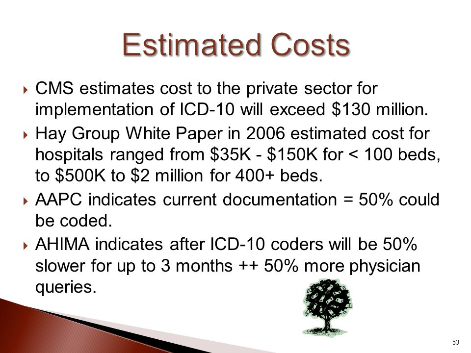  CMS estimates cost to the private sector for implementation of ICD-10 will exceed $130 million.  Hay Group White Paper in 2006 estimated cost for h