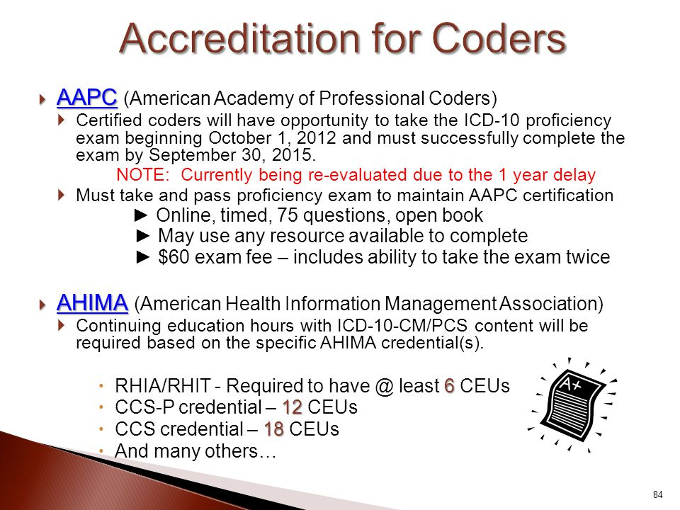  AAPC  AAPC (American Academy of Professional Coders)  Certified coders will have opportunity to take the ICD-10 proficiency exam beginning October