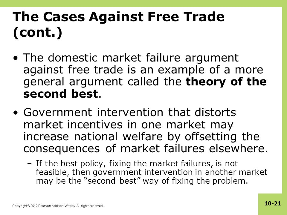 Copyright © 2012 Pearson Addison-Wesley. All rights reserved. 10-21 The Cases Against Free Trade (cont.) The domestic market failure argument against