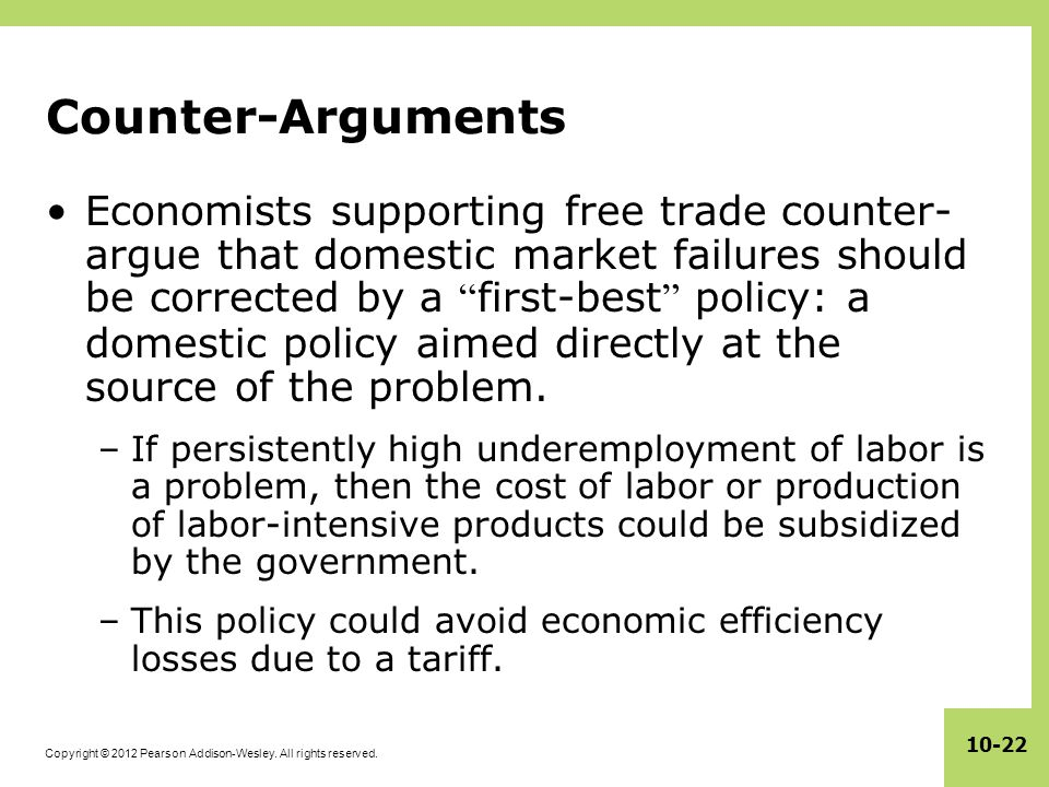 Copyright © 2012 Pearson Addison-Wesley. All rights reserved. 10-22 Counter-Arguments Economists supporting free trade counter- argue that domestic ma