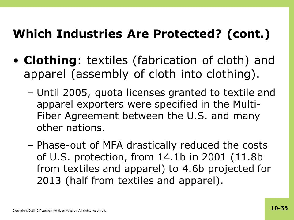 Copyright © 2012 Pearson Addison-Wesley. All rights reserved. 10-33 Which Industries Are Protected? (cont.) Clothing: textiles (fabrication of cloth)