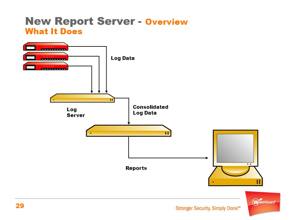 29 New Report Server - Overview What It Does Log Data Log Server Consolidated Log Data Reports