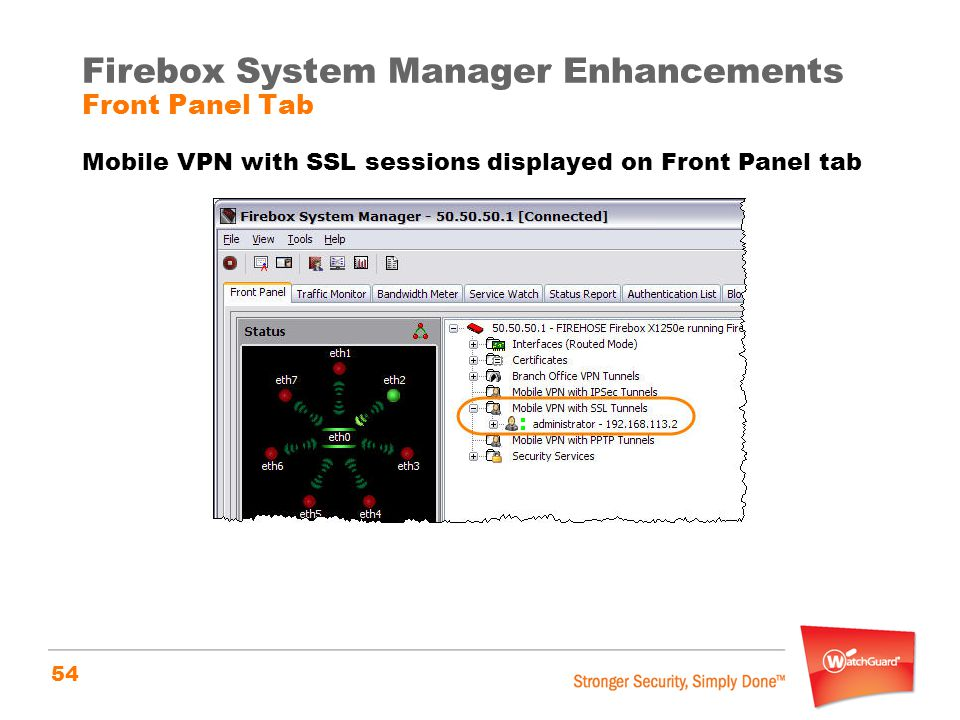 54 Firebox System Manager Enhancements Front Panel Tab Mobile VPN with SSL sessions displayed on Front Panel tab