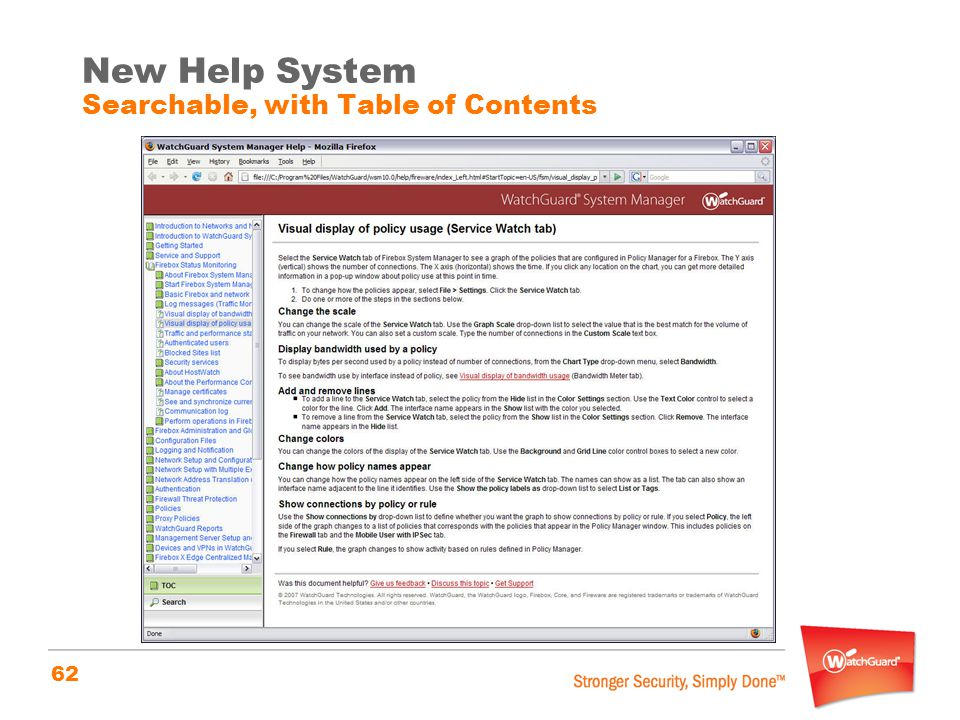 62 New Help System Searchable, with Table of Contents