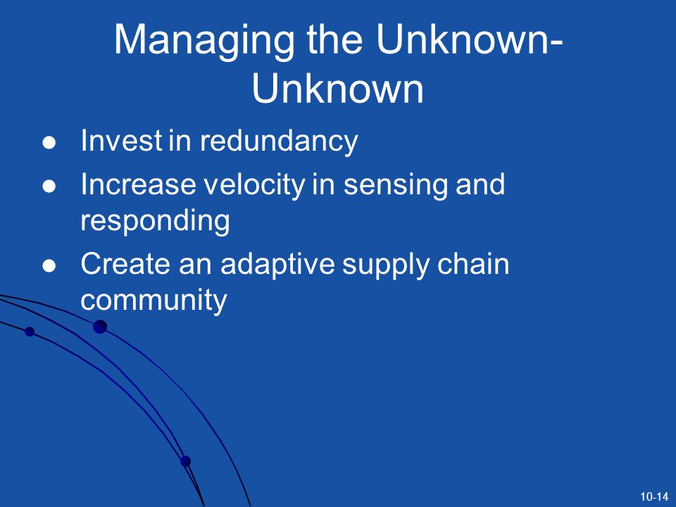 10-14 Managing the Unknown- Unknown Invest in redundancy Increase velocity in sensing and responding Create an adaptive supply chain community