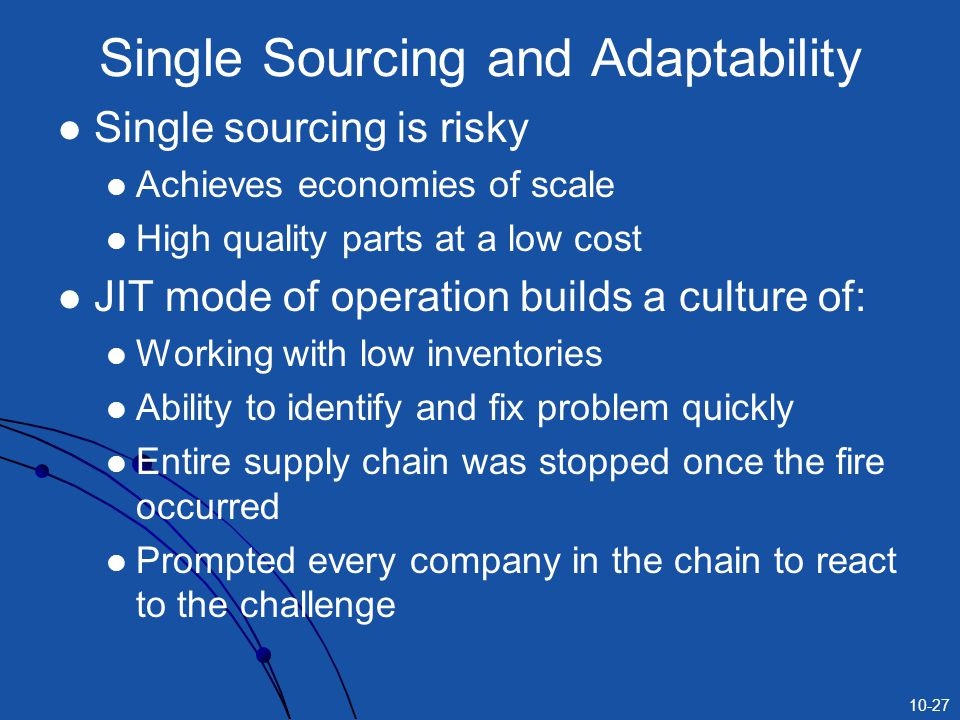 10-27 Single Sourcing and Adaptability Single sourcing is risky Achieves economies of scale High quality parts at a low cost JIT mode of operation builds a culture of: Working with low inventories Ability to identify and fix problem quickly Entire supply chain was stopped once the fire occurred Prompted every company in the chain to react to the challenge