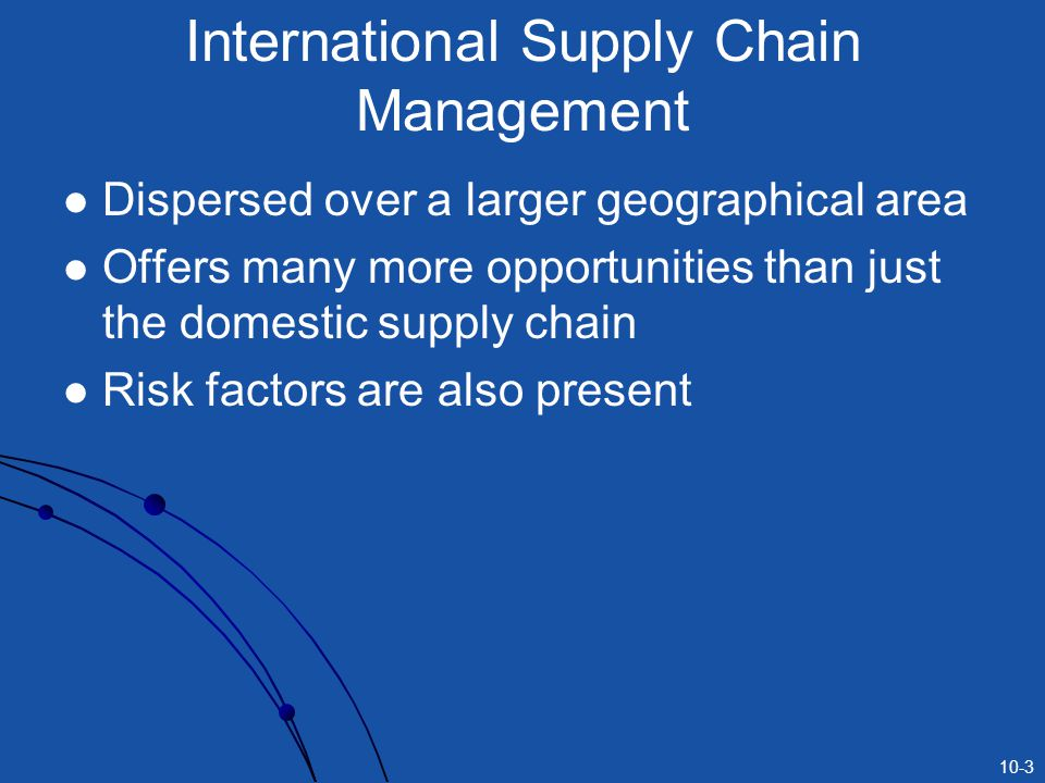 10-3 International Supply Chain Management Dispersed over a larger geographical area Offers many more opportunities than just the domestic supply chai
