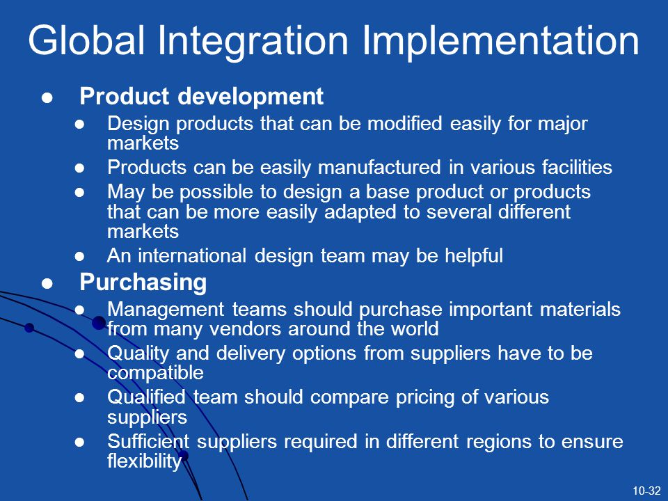 10-32 Global Integration Implementation Product development Design products that can be modified easily for major markets Products can be easily manuf