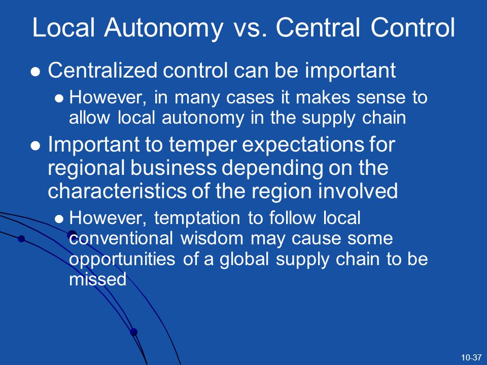 10-37 Local Autonomy vs.