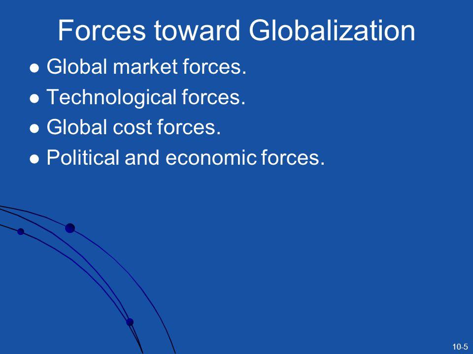 10-5 Forces toward Globalization Global market forces.
