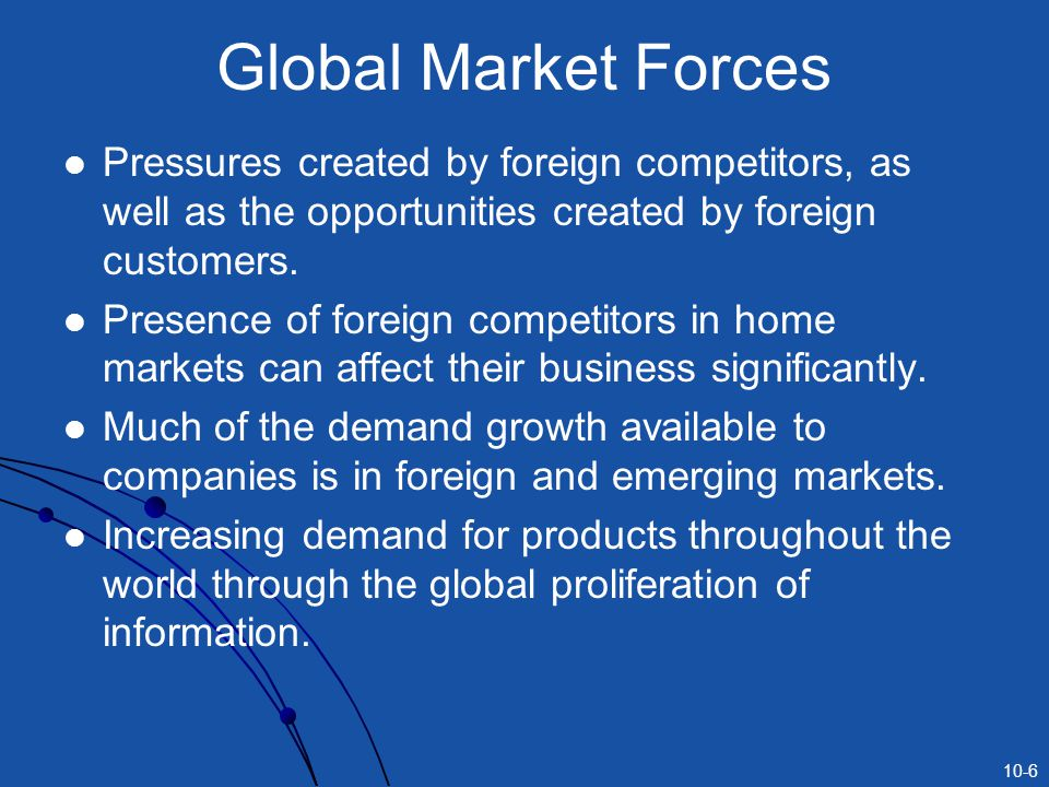 10-6 Global Market Forces Pressures created by foreign competitors, as well as the opportunities created by foreign customers.