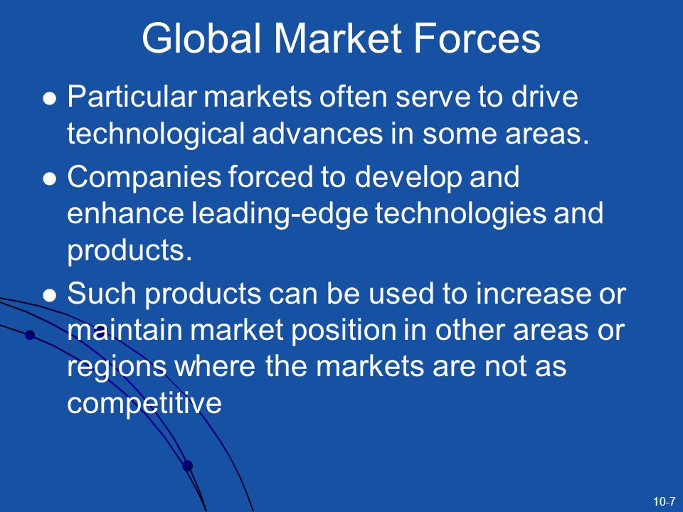 10-7 Global Market Forces Particular markets often serve to drive technological advances in some areas.