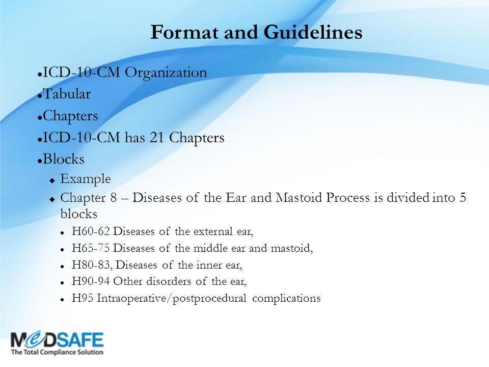 Format and Guidelines ICD-10-CM Organization Tabular Chapters ICD-10-CM has 21 Chapters Blocks  Example  Chapter 8 – Diseases of the Ear and Mastoid Process is divided into 5 blocks H60-62 Diseases of the external ear, H65-75 Diseases of the middle ear and mastoid, H80-83, Diseases of the inner ear, H90-94 Other disorders of the ear, H95 Intraoperative/postprocedural complications