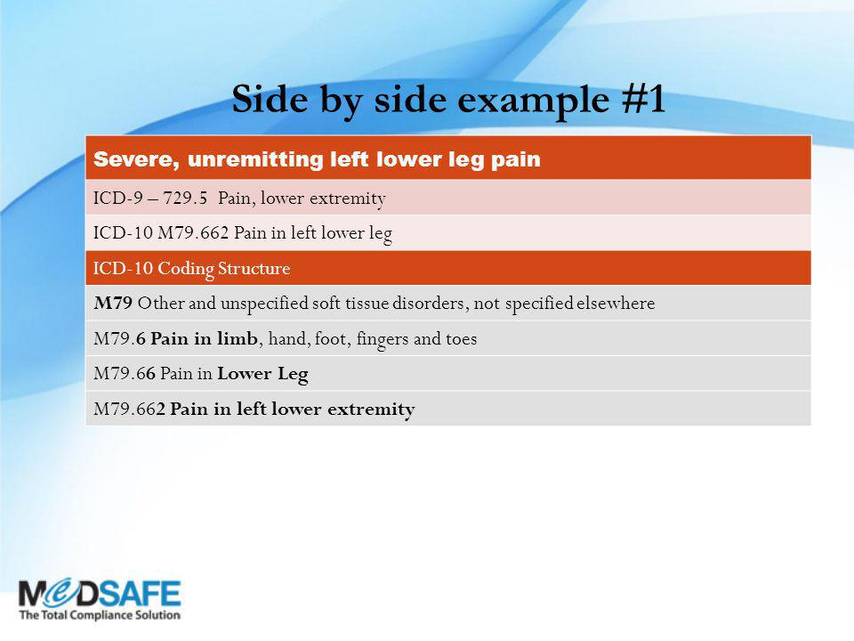 Side by side example #1 Severe, unremitting left lower leg pain ICD-9 – 729.5 Pain, lower extremity ICD-10 M79.662 Pain in left lower leg ICD-10 Coding Structure M79 Other and unspecified soft tissue disorders, not specified elsewhere M79.6 Pain in limb, hand, foot, fingers and toes M79.66 Pain in Lower Leg M79.662 Pain in left lower extremity