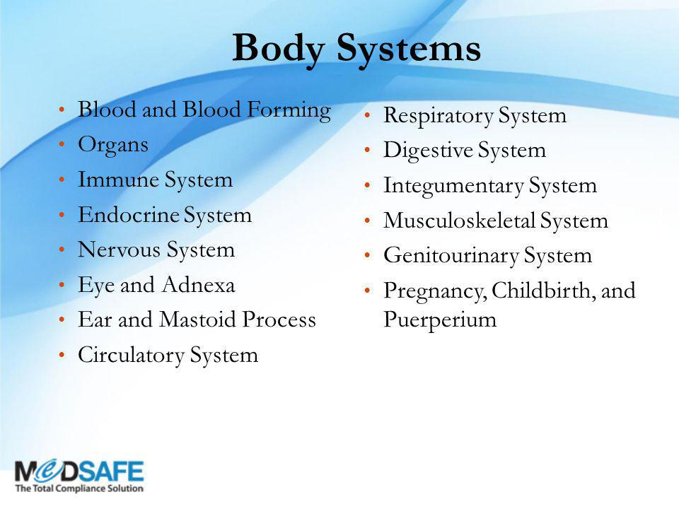 Body Systems Blood and Blood Forming Organs Immune System Endocrine System Nervous System Eye and Adnexa Ear and Mastoid Process Circulatory System Respiratory System Digestive System Integumentary System Musculoskeletal System Genitourinary System Pregnancy, Childbirth, and Puerperium