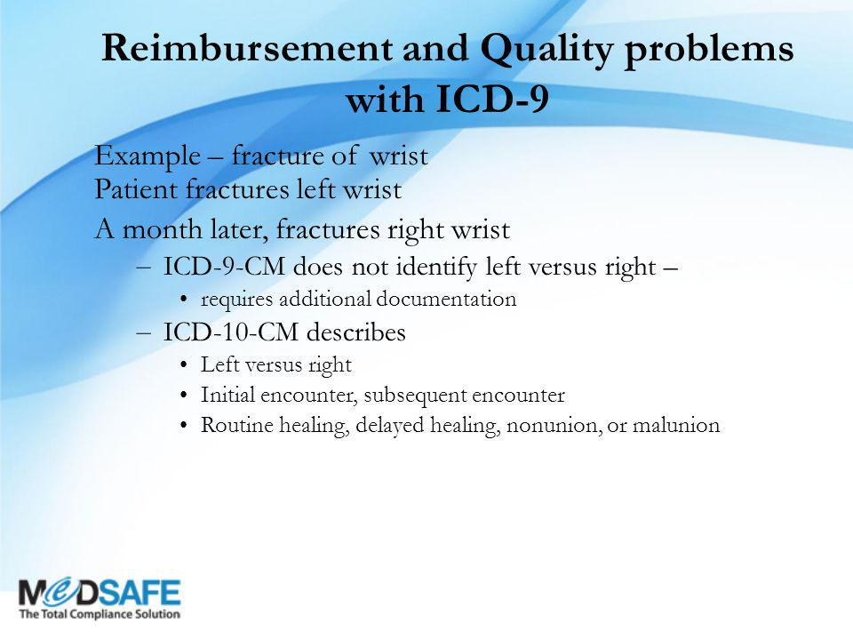 Reimbursement and Quality problems with ICD-9 Example – fracture of wrist Patient fractures left wrist A month later, fractures right wrist – ICD-9-CM does not identify left versus right – requires additional documentation – ICD-10-CM describes Left versus right Initial encounter, subsequent encounter Routine healing, delayed healing, nonunion, or malunion
