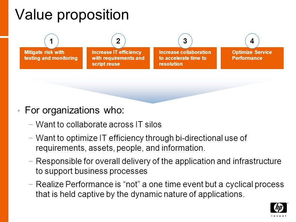 Value proposition For organizations who: −Want to collaborate across IT silos −Want to optimize IT efficiency through bi-directional use of requirements, assets, people, and information.