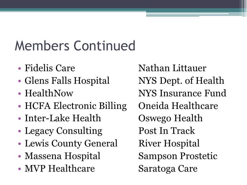 Members Continued Seimens St.Peter's Health Partners St.