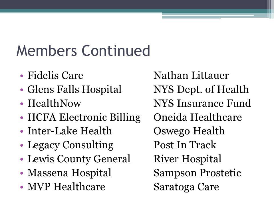 Members Continued Fidelis CareNathan Littauer Glens Falls HospitalNYS Dept.