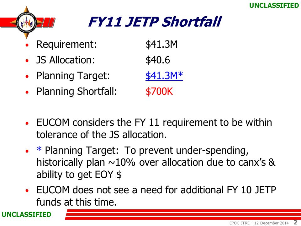 EPOC JTRE - 12 December 2014 - 3 UNCLASSIFIED Planning Assumptions EUCOM leadership approved plan 19 Jan 10 Manages expectations/prevents unfunded commitments No additional funds currently required from JS for FY 11 Unprogrammed growth borne by OCE desiring growth