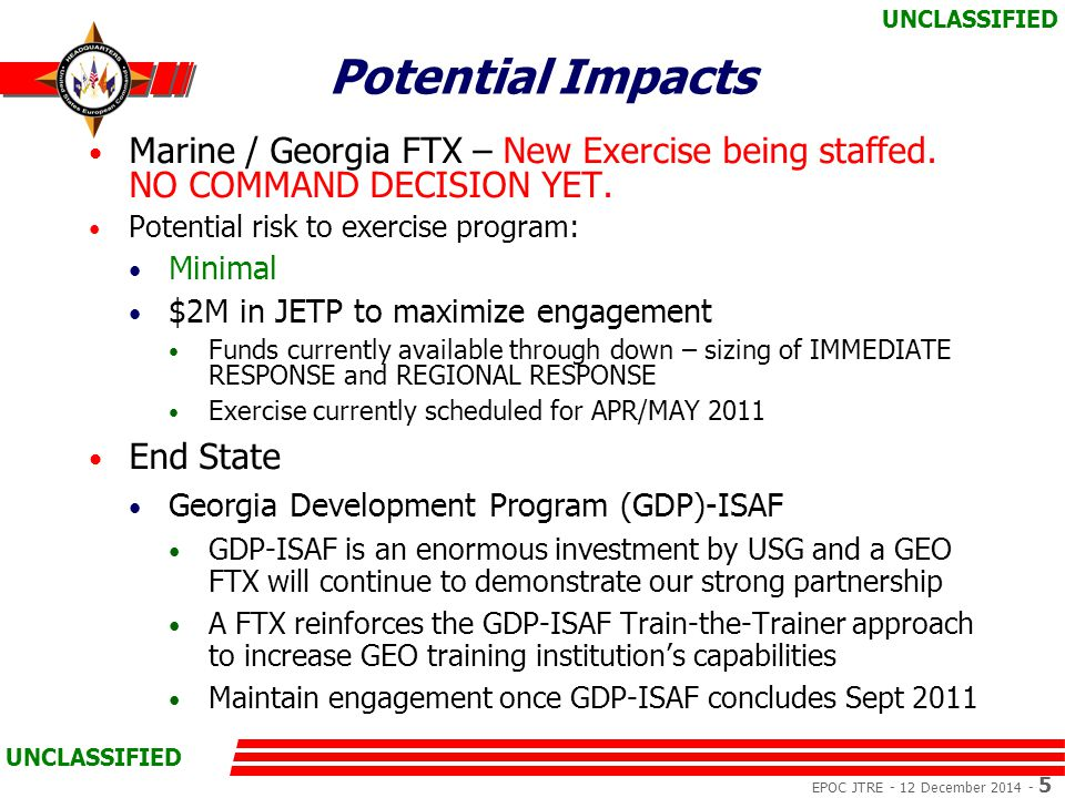EPOC JTRE - 12 December 2014 - 5 UNCLASSIFIED Potential Impacts Marine / Georgia FTX – New Exercise being staffed.