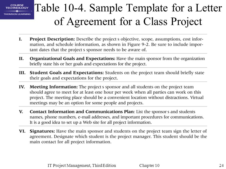 24IT Project Management, Third Edition Chapter 10 Table 10-4. Sample Template for a Letter of Agreement for a Class Project