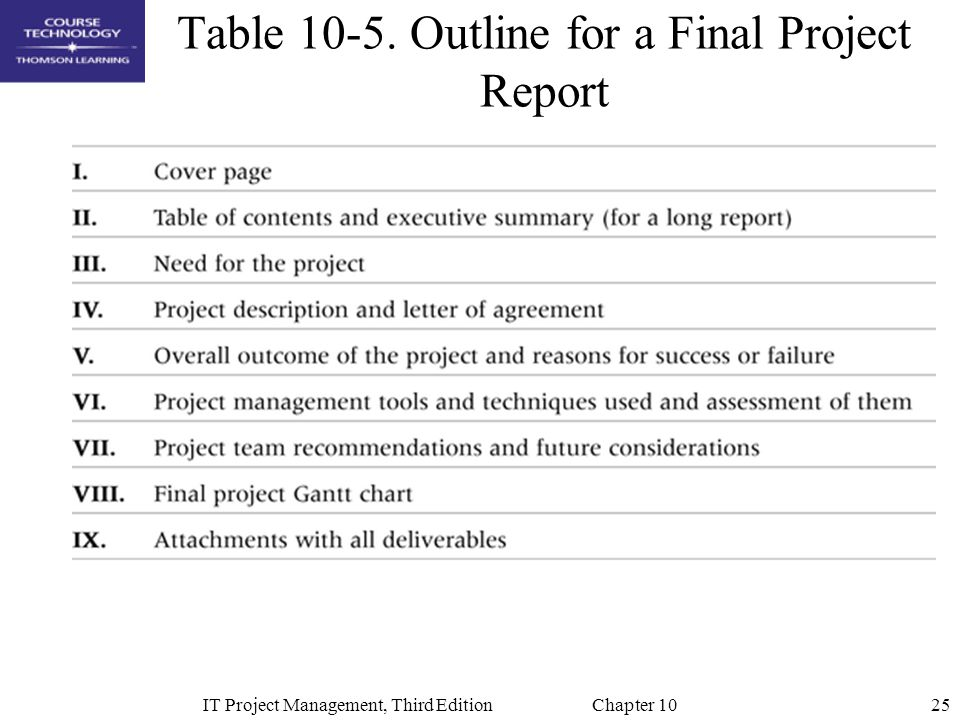 25IT Project Management, Third Edition Chapter 10 Table 10-5. Outline for a Final Project Report
