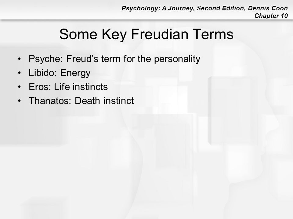 Psychology: A Journey, Second Edition, Dennis Coon Chapter 10 Some Key Freudian Terms Psyche: Freud's term for the personality Libido: Energy Eros: Li